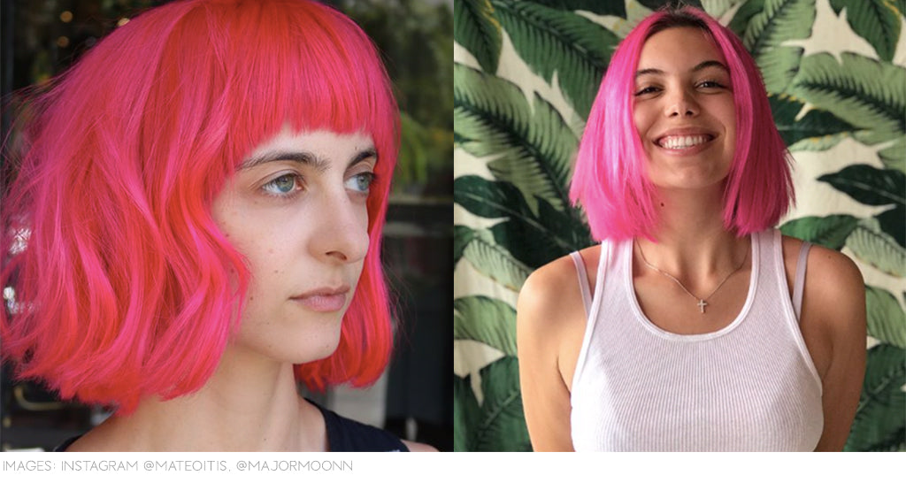 Neon pink hair colour