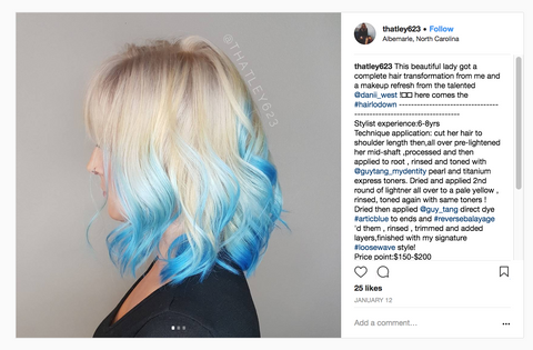 electric blue over platinum reverse balayage