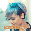 woman wearing smart beauty pastel blue hair dye