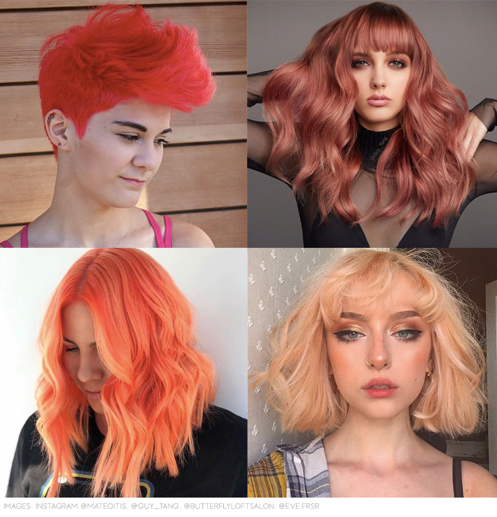 Pantone coral living hair colour