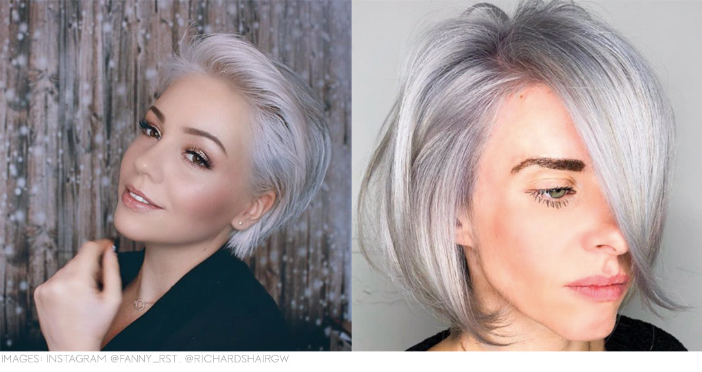 Metallic silver hair colour