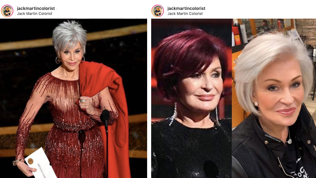 Jane Fonda grey hair, Sharon Osbourne silver hair