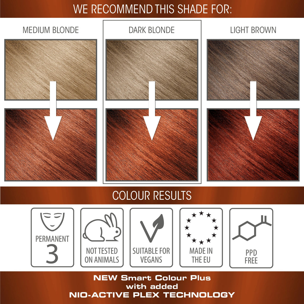 vegan cruelty free nio-plex conditioning permanent hair colour swatches copper amber