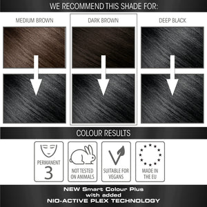 vegan cruelty free nio-plex conditioning permanent hair colour swatches black