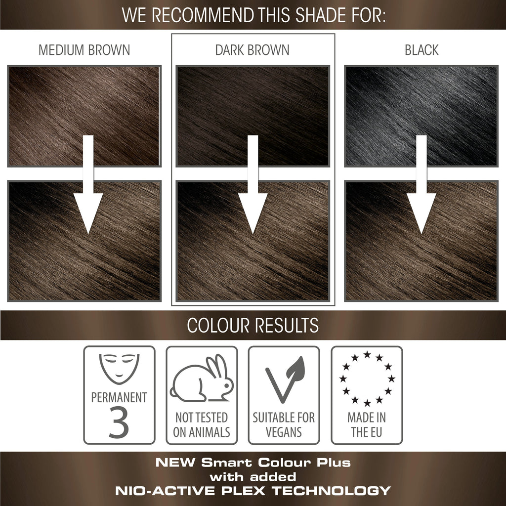vegan cruelty free nio-plex conditioning permanent hair colour swatches brown brunette