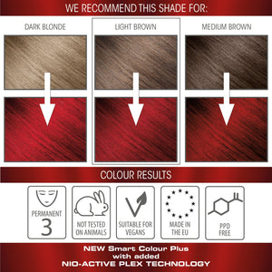 vegan cruelty free nio-plex conditioning permanent hair colour swatches hollywood red