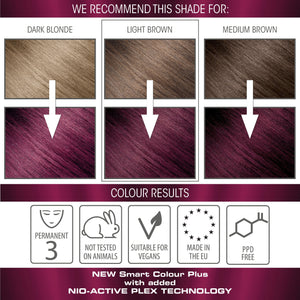 vegan cruelty free nio-plex conditioning permanent hair colour swatches plum