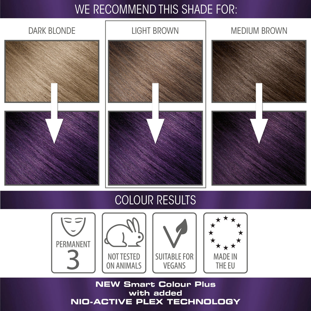 vegan cruelty free nio-plex conditioning permanent hair colour swatches purple amethyst