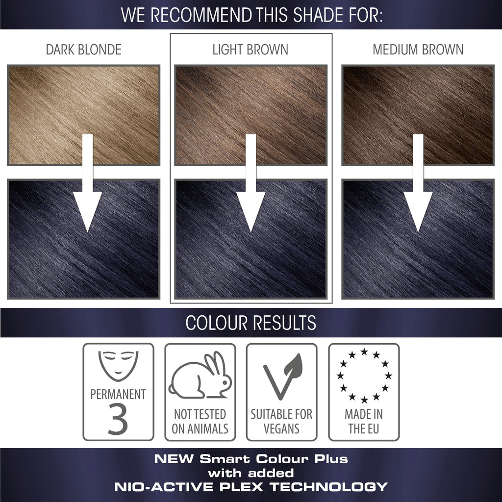 vegan cruelty free nio-plex conditioning permanent hair colour swatches blue black