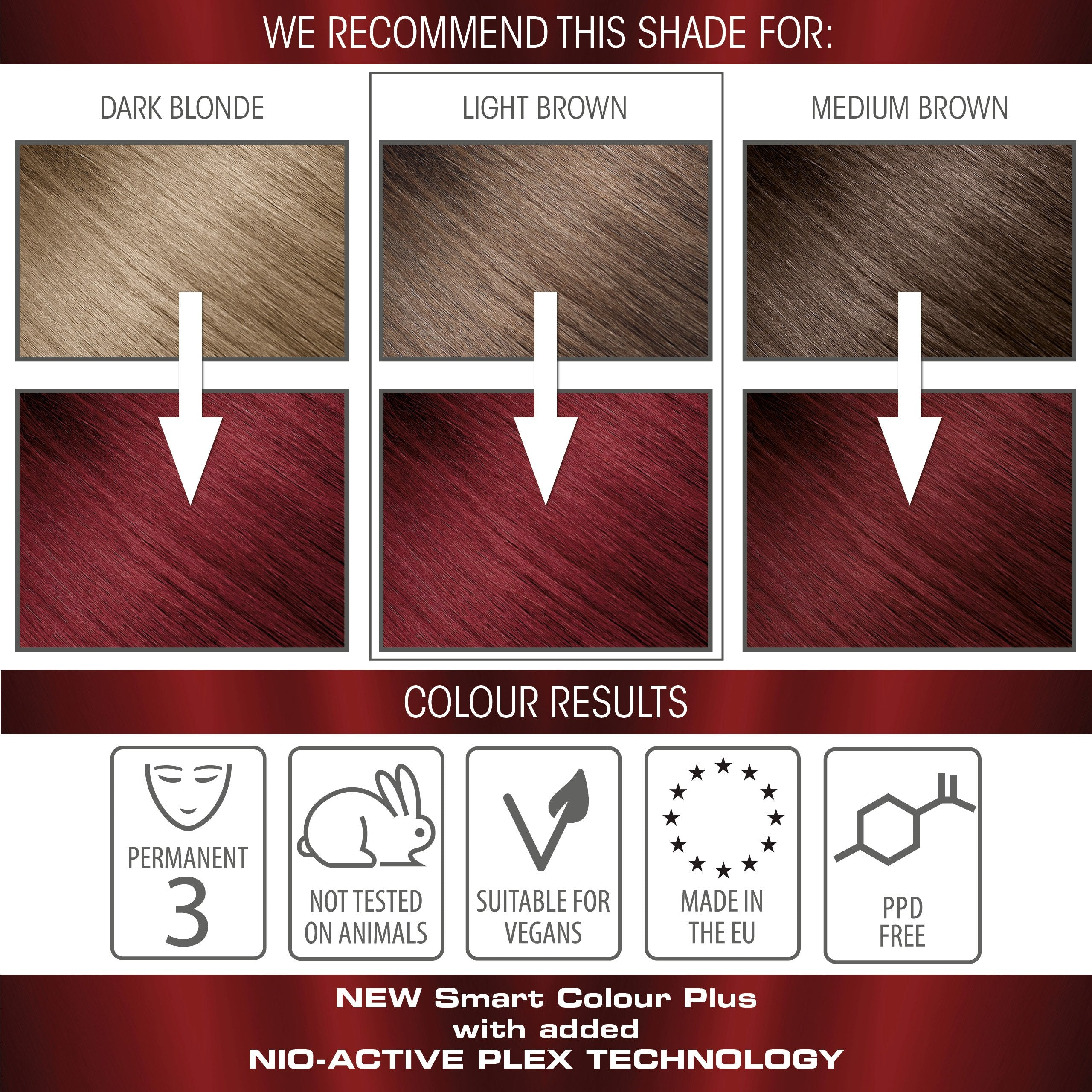 vegan cruelty free nio-plex conditioning permanent hair colour swatches red velvet