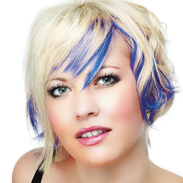 Electric Blue Dyed Hair Highlights