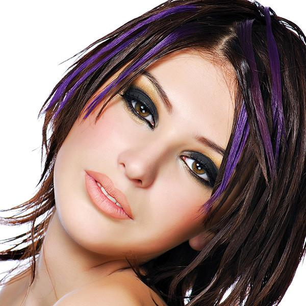 Pure Purple Dyed Hair Highlights