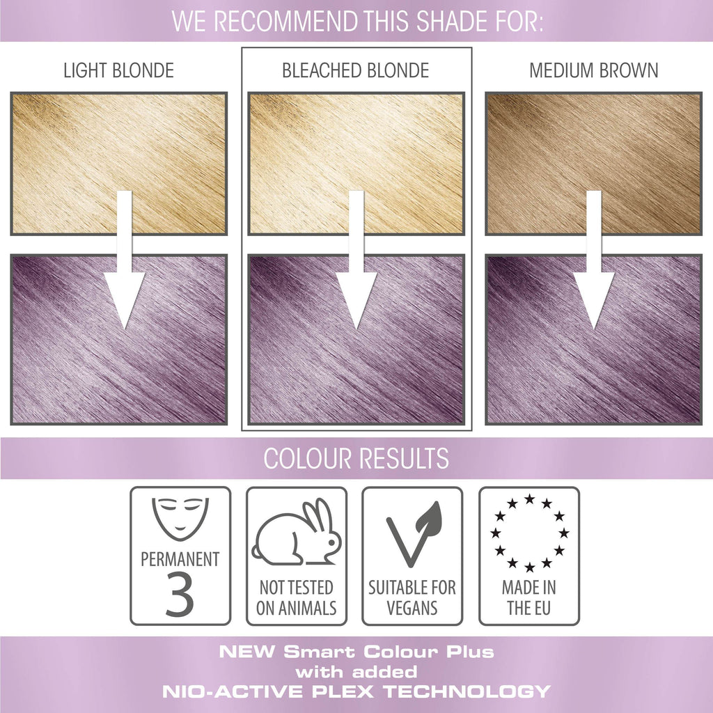 vegan cruelty free permanent hair colour swatches metallic pastel lilac purple
