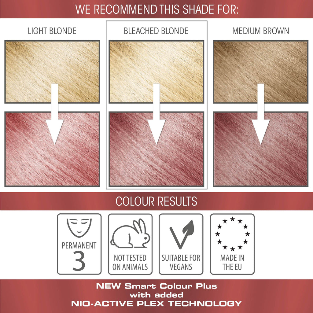 vegan cruelty free permanent hair colour swatches metallic pastel rose gold