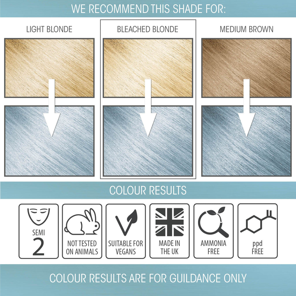 vegan cruelty free hair colour swatches semi-permanent pastel baby blue