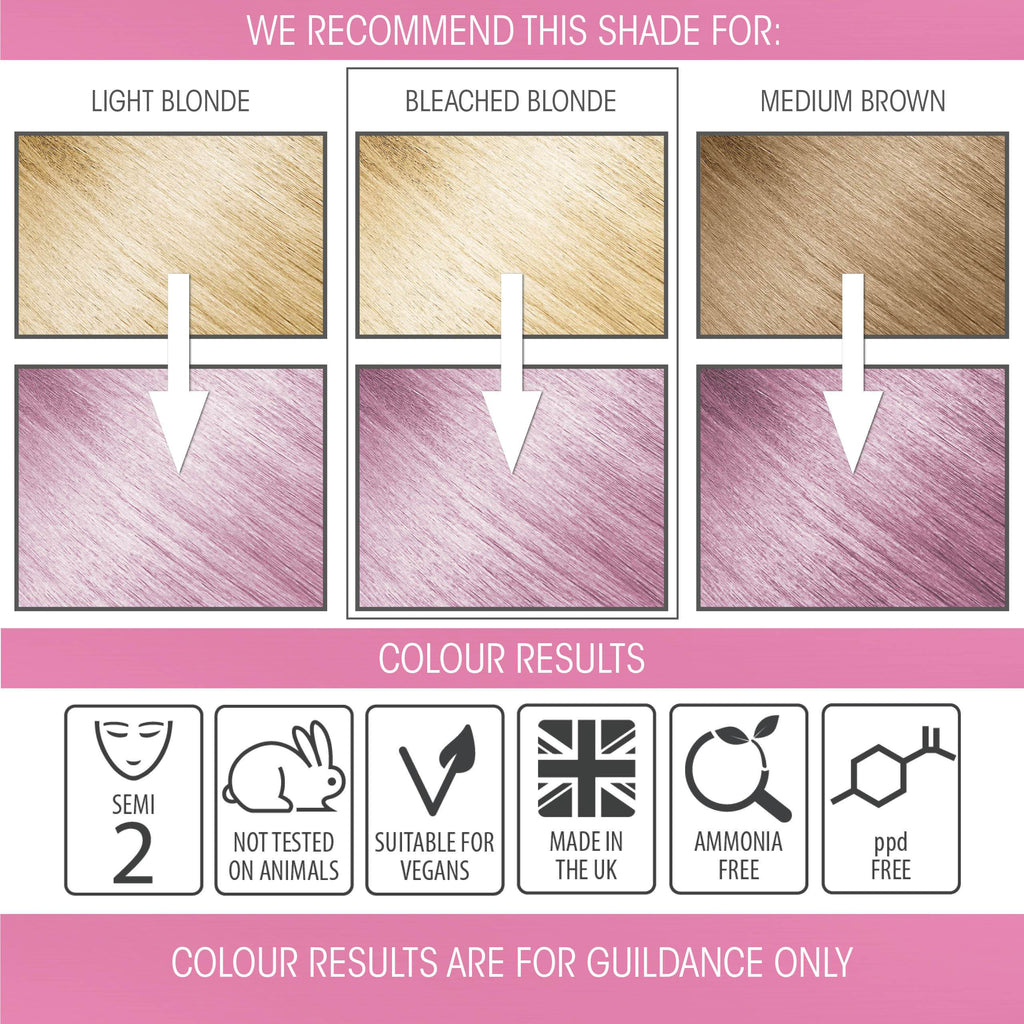 vegan cruelty free hair colour swatches semi-permanent pastel candy floss pink