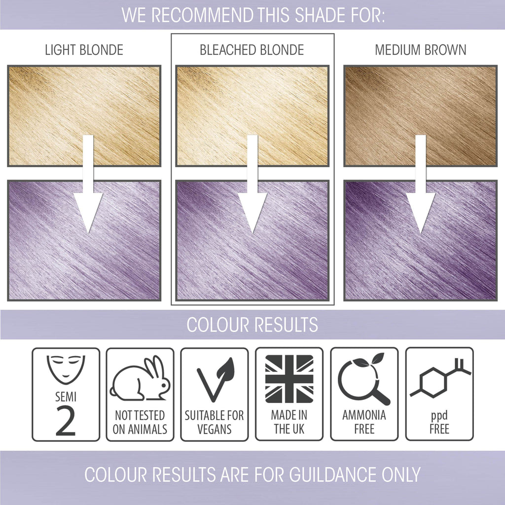 vegan cruelty free hair colour swatches semi-permanent pastel lilac haze purple