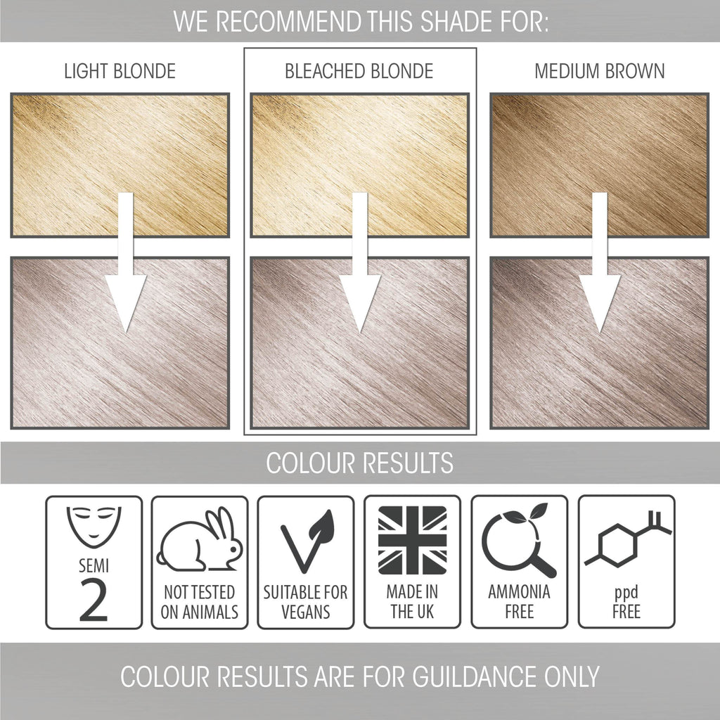 vegan cruelty free hair colour swatches semi-permanent pastel silver moon