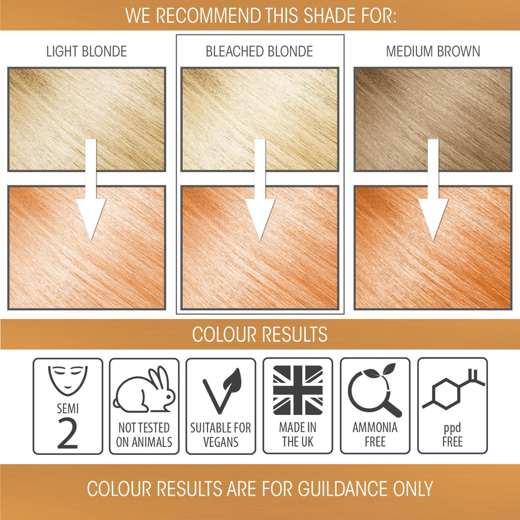 vegan cruelty free hair colour swatches semi-permanent pastel sunset orange