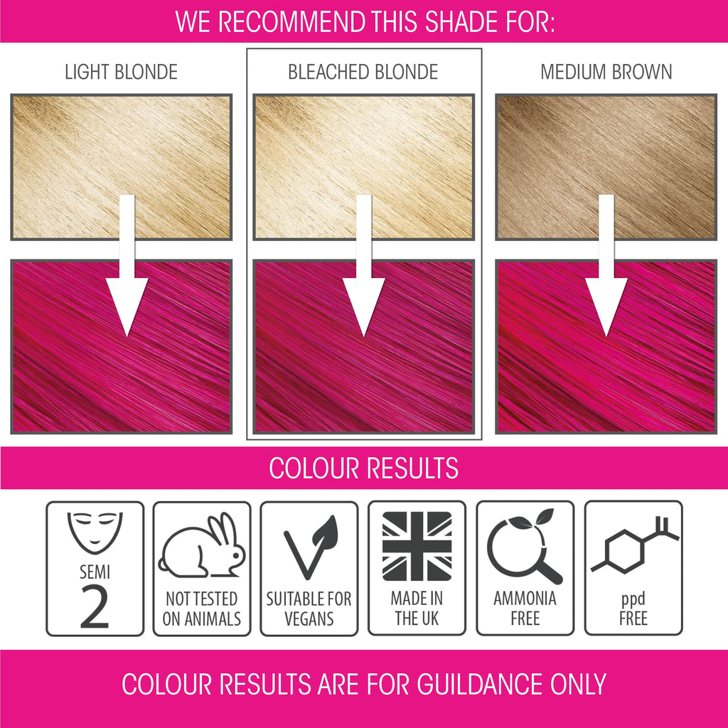 vegan cruelty free hair colour swatches semi-permanent carmine pink
