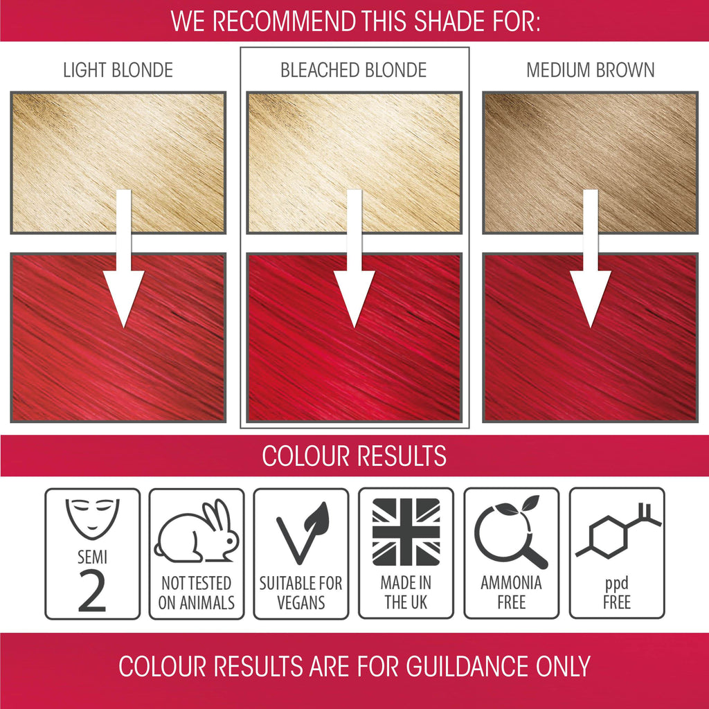 vegan cruelty free hair colour swatches semi-permanent intense red