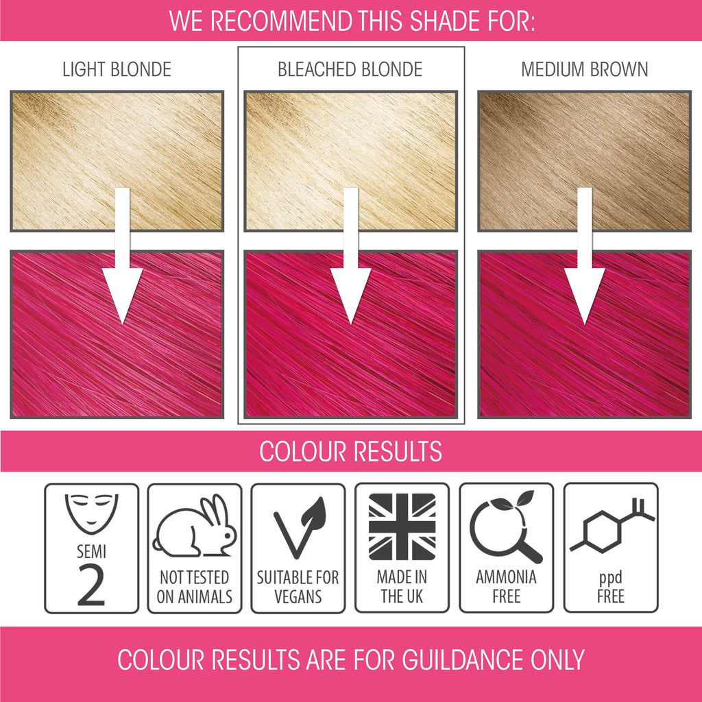 vegan cruelty free hair colour swatches semi-permanent neon pink