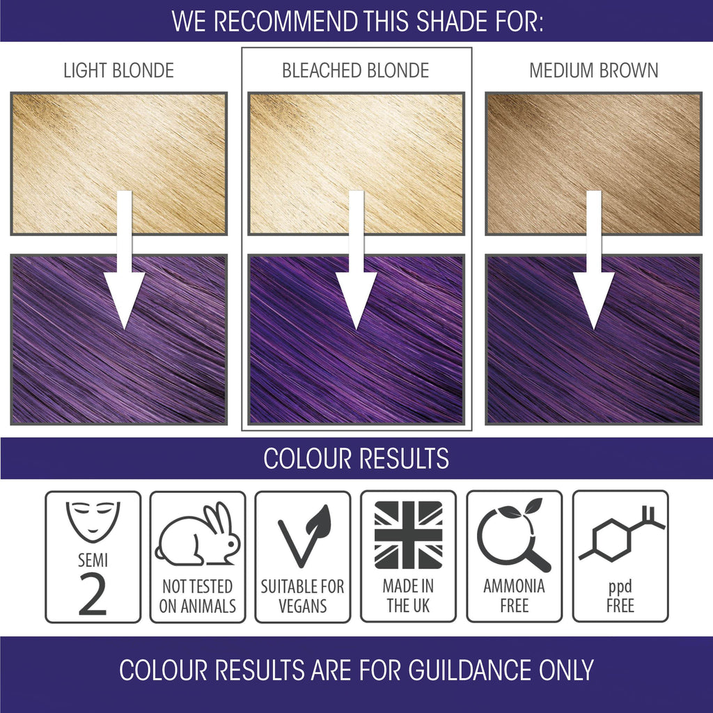 vegan cruelty free hair colour swatches semi-permanent pure purple