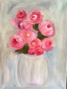 Pink Roses Oil Painting on Canvas | Red Rose Hanging Wall Art Decor