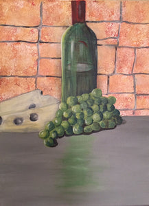 "Green Grapes & Wine Canvas Painting | Hanging Wall Decor | Kitchen & Restuarant 12"" W x 16"" L"