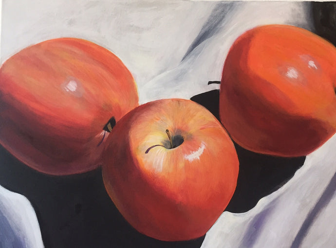 Fall Apples Canvas Art | Kitchen Wall Hanging | Food Acrylic Painting