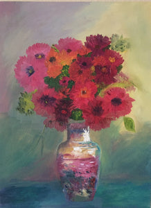 "Still Life Flowers Canvas Oil Painting | Hanging Wall Art | Flower In A Beautiful Vase 18""W x 24""H"