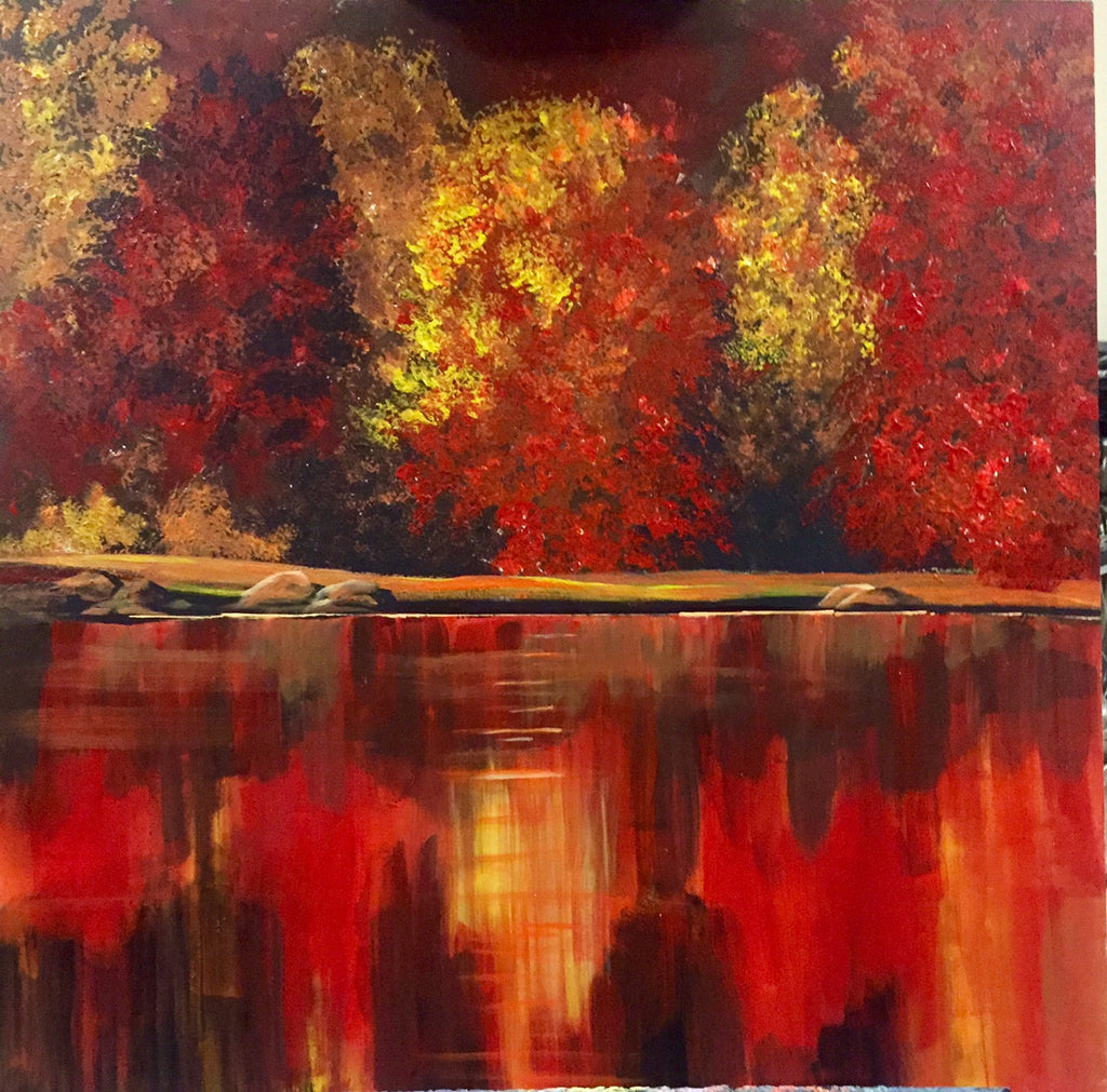 "Fall Background Fine Canvas Art | Still Life Hanging Wall Art | Home Decor 24""W x 24""H"