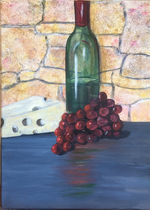 Wine Bottle Canvas Painting | Grapes & Wine Wall Art Decor
