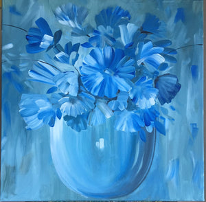 Blue Flowers Canvas Art | Floral Wall Decor | Hanging Wall Art Paintings