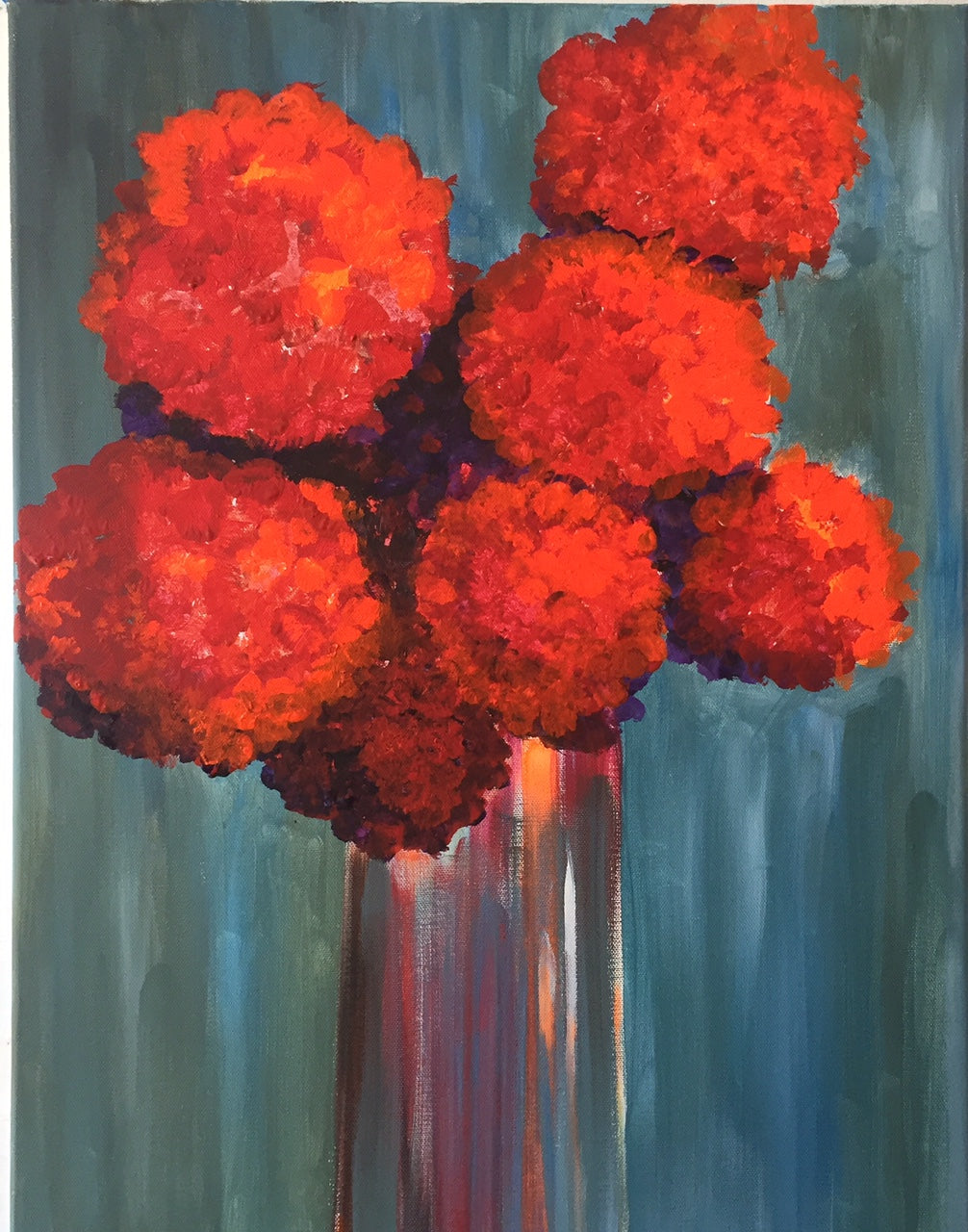 Canvas Red Flower Painting Still Life Wall Decor Floral Accents Kitchen Room