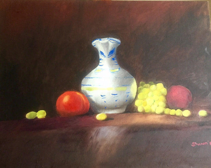 Still Life Canvas Oil Painting | Vase with Fruit Wall Decor | Hanging Wall Accents