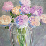 Summer Flowers Canvas Painting | Lilac Fine Art Hanging Wall Decor | Vase & Flowers