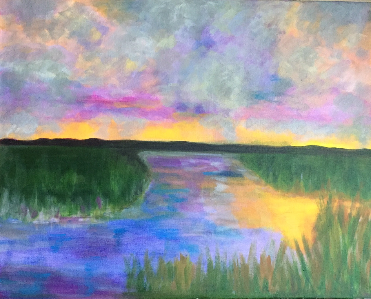 "Sunset On The Bayou - 20""W x 16""H"