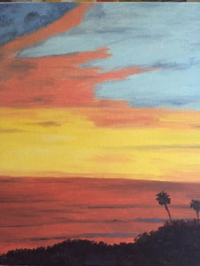 "Santa Barbara Sunset Canvas Oil Painting | Still Life Hanging Wall Decor | Abstract Home Accents 18""W x 18""H"