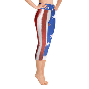 4th of July American Flag - Yoga Capri Leggings