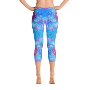 Blue Spring Flowers - Capri Leggings