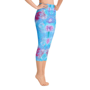 Blue Spring Flowers - Yoga Capri Leggings