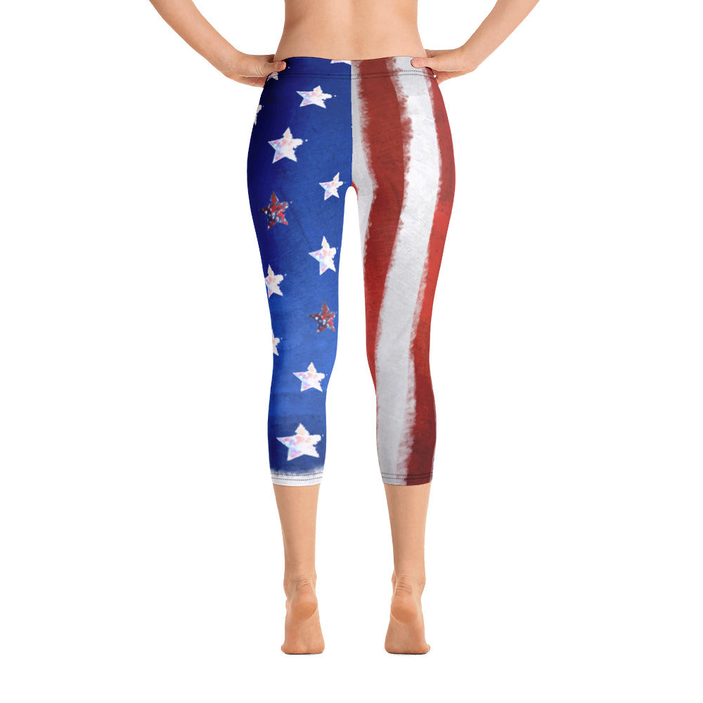 4th of July American Flag - Capri Leggings