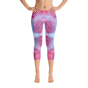 Red Spring Flowers - Capri Leggings