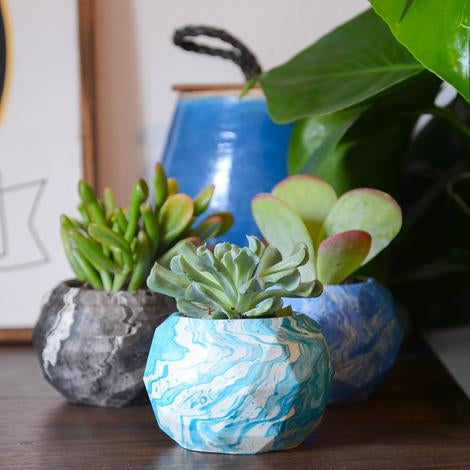 Marbled Concrete Geometric Sphere Planter