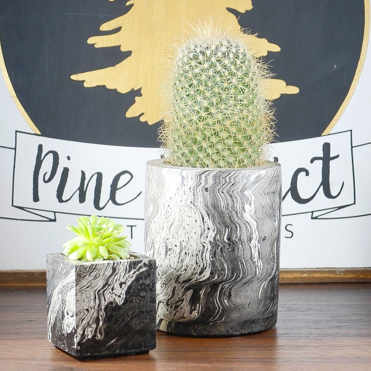 Black Marble Concrete Planter