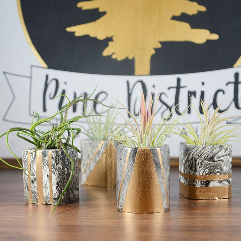 Mini Black Marble and Gold Concrete Air Planter