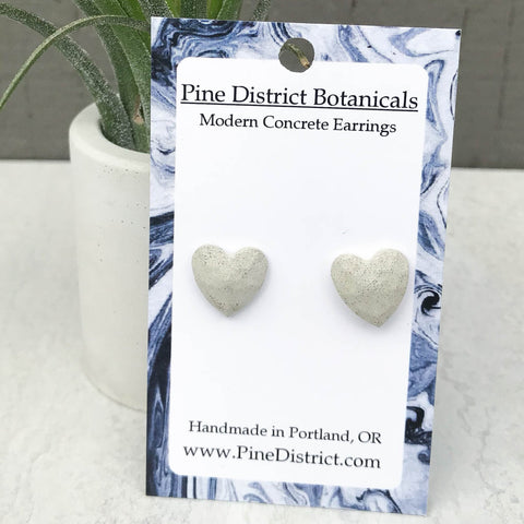 Geometric Heart Concrete Earrings