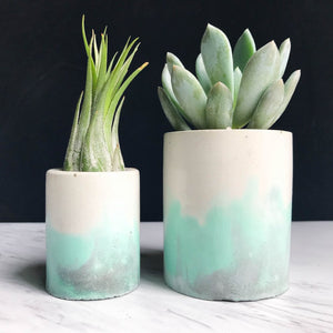 Tri-Color Swirl Concrete Planter - Mint & Grey
