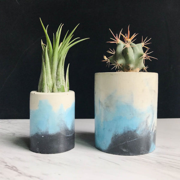 Tri-Color Swirl Concrete Planter - Blue & Black